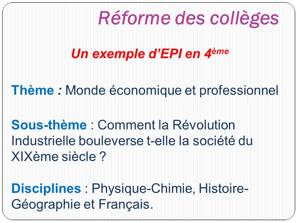 Connu Réforme des collèges Un exemple d'EPI en 4ème - ppt video online  IU29