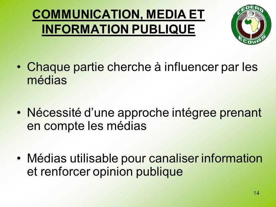 COMMUNICATION, MEDIA ET INFORMATION PUBLIQUE