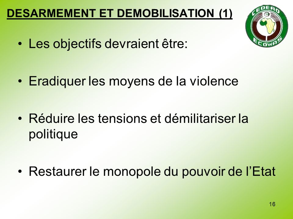 DESARMEMENT ET DEMOBILISATION (1)