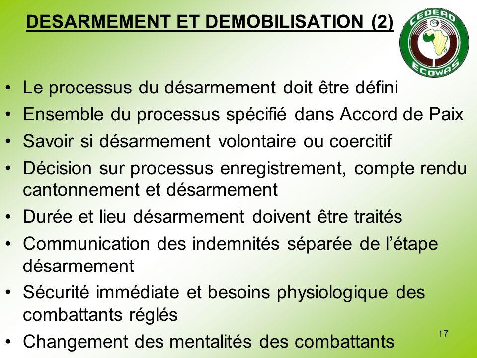 DESARMEMENT ET DEMOBILISATION (2)