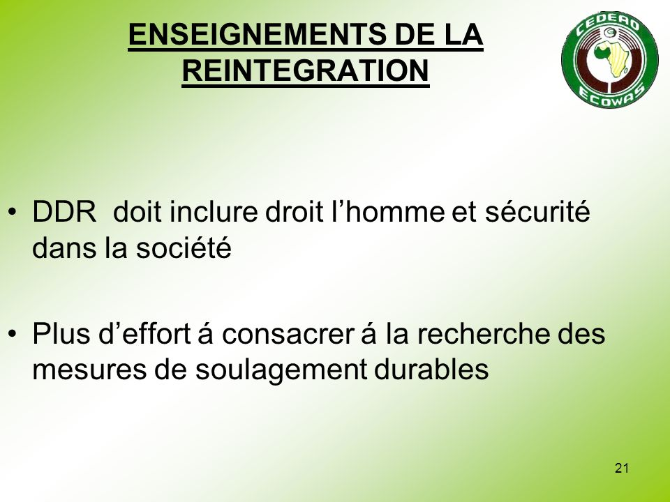 ENSEIGNEMENTS DE LA REINTEGRATION