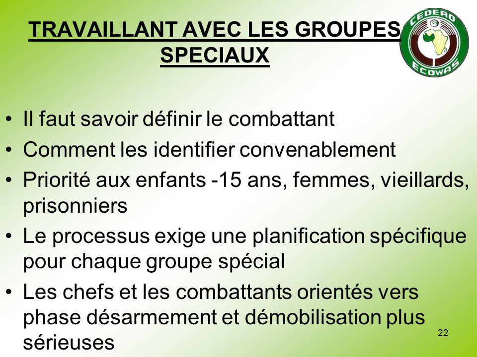 TRAVAILLANT AVEC LES GROUPES SPECIAUX