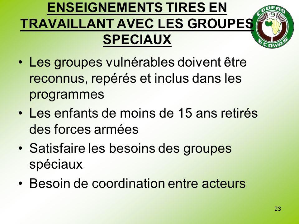 ENSEIGNEMENTS TIRES EN TRAVAILLANT AVEC LES GROUPES SPECIAUX