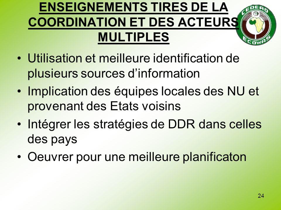 ENSEIGNEMENTS TIRES DE LA COORDINATION ET DES ACTEURS MULTIPLES