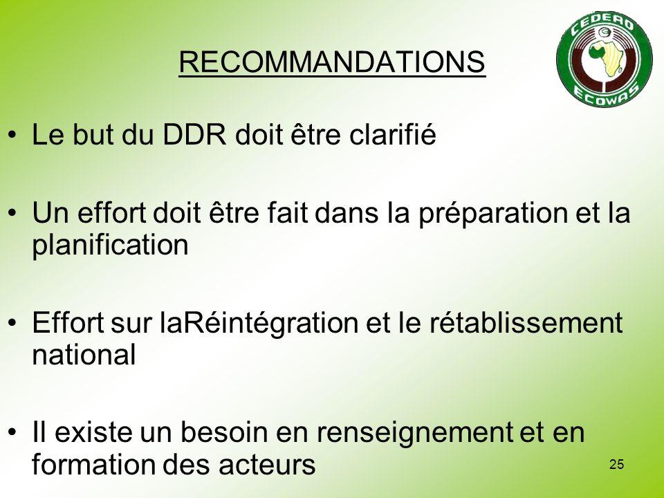 RECOMMANDATIONS Le but du DDR doit être clarifié. Un effort doit être fait dans la préparation et la planification.