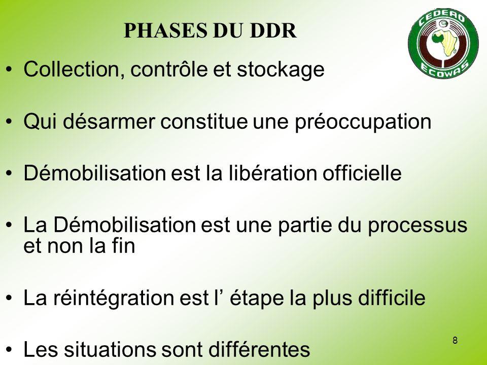 PHASES DU DDR Collection, contrôle et stockage. Qui désarmer constitue une préoccupation. Démobilisation est la libération officielle.