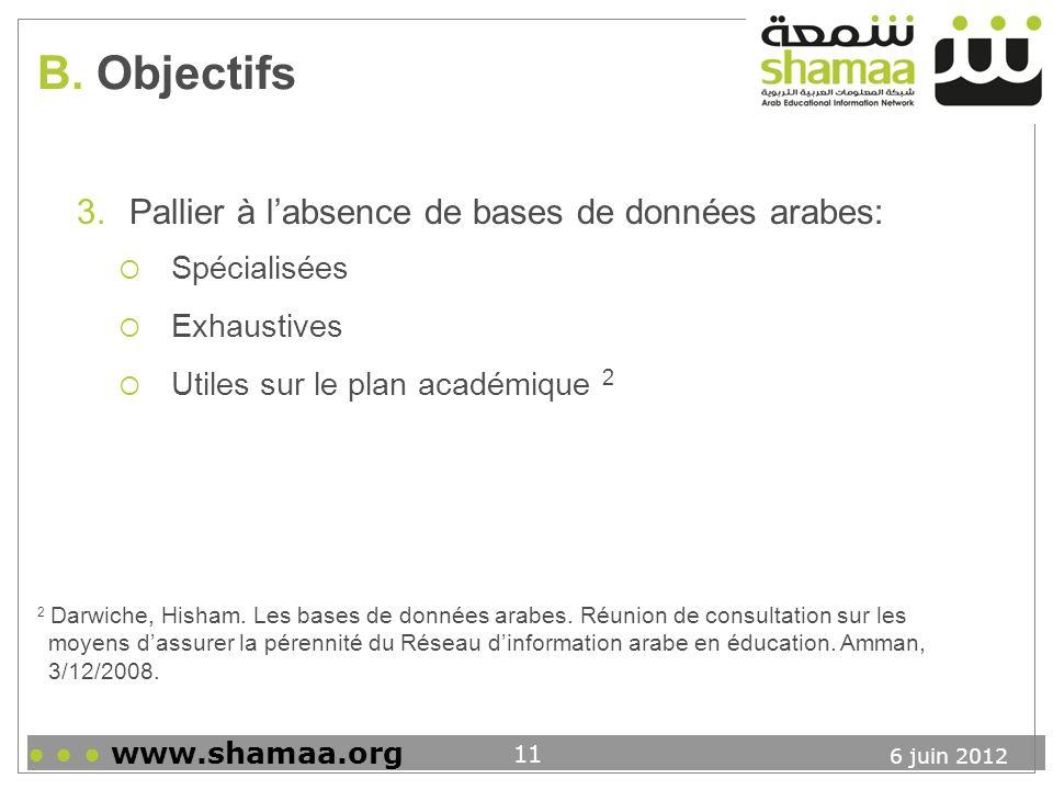 B. Objectifs Pallier à l'absence de bases de données arabes: