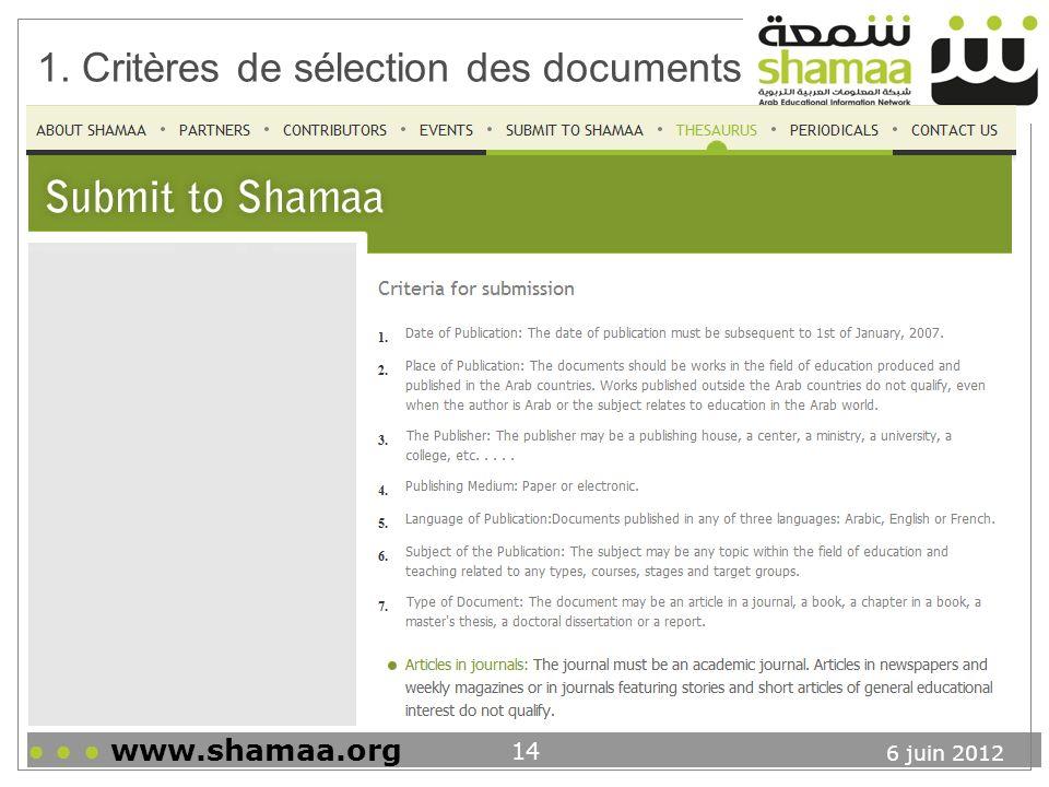 1. Critères de sélection des documents