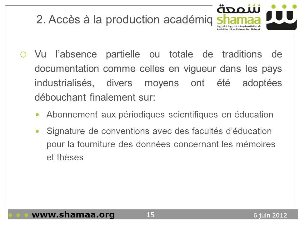2. Accès à la production académique
