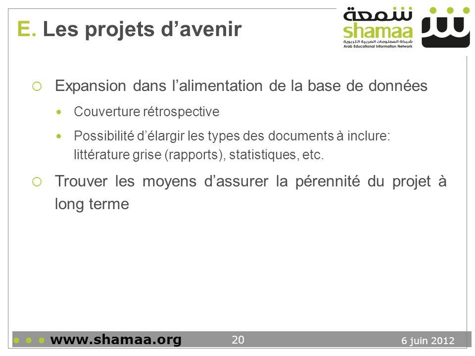 E. Les projets d'avenir Expansion dans l'alimentation de la base de données. Couverture rétrospective.