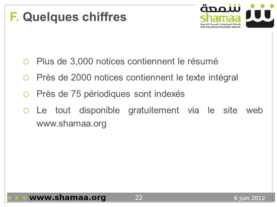 F. Quelques chiffres Plus de 3,000 notices contiennent le résumé