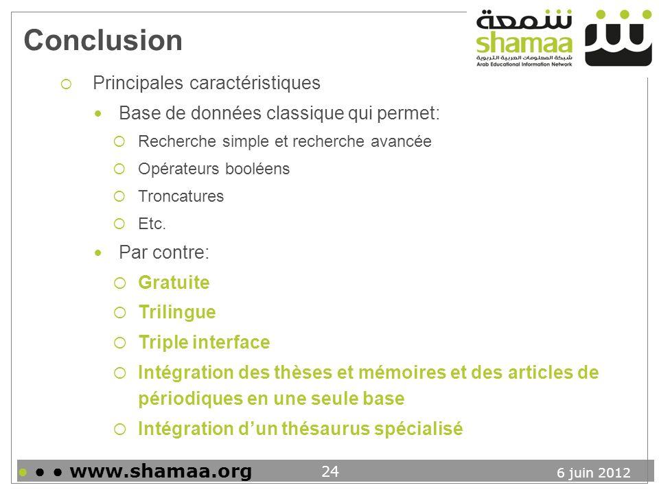 Conclusion Principales caractéristiques