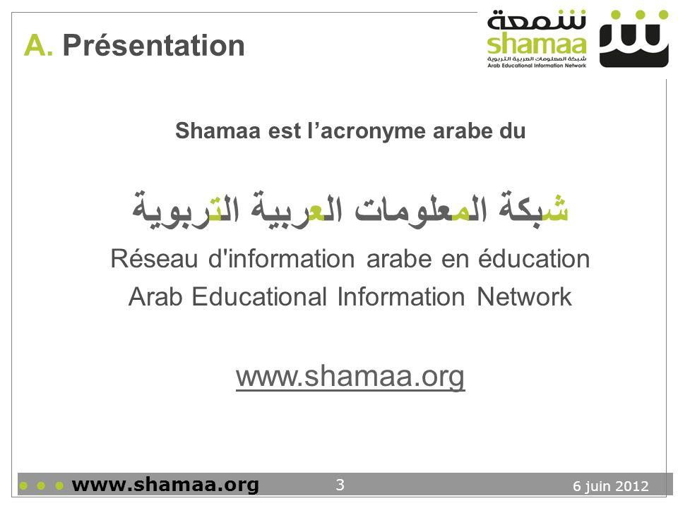 Shamaa est l'acronyme arabe du شبكة المعلومات العربية التربوية