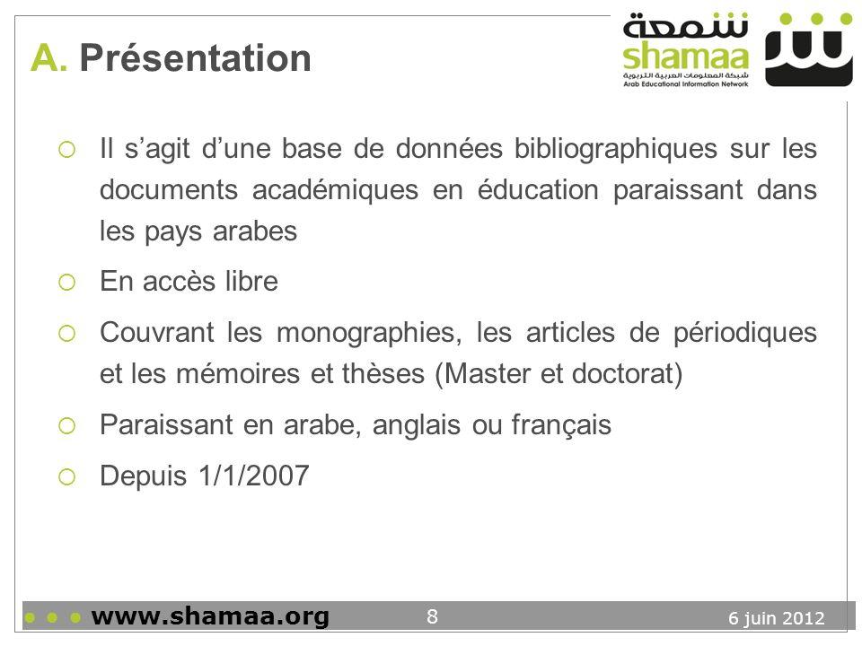 A. Présentation Il s'agit d'une base de données bibliographiques sur les documents académiques en éducation paraissant dans les pays arabes.