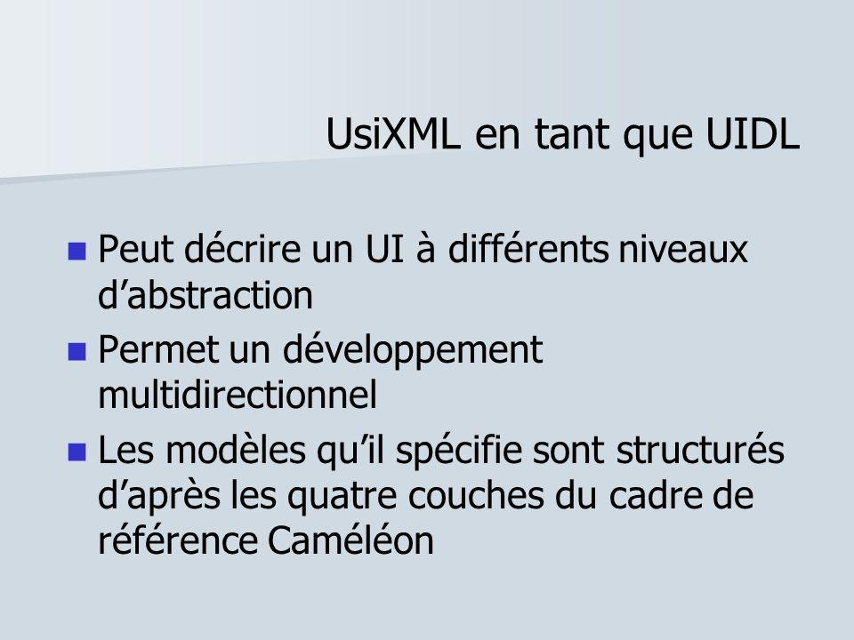 UsiXML en tant que UIDLPeut décrire un UI à différents niveaux d'abstraction. Permet un développement multidirectionnel.