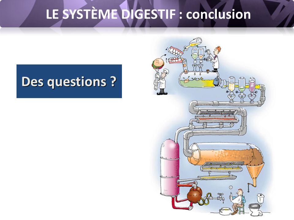 LE SYSTÈME DIGESTIF : conclusion