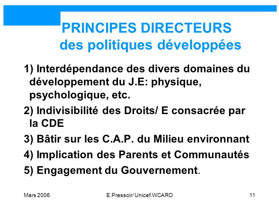 PRINCIPES DIRECTEURS des politiques développées