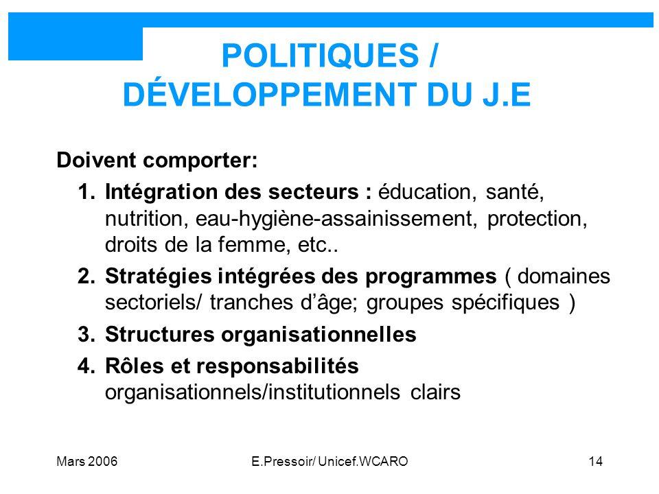 POLITIQUES / DÉVELOPPEMENT DU J.E