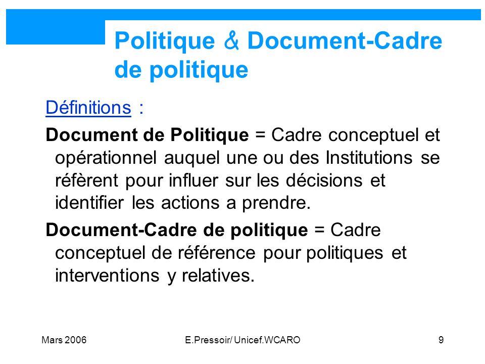 Politique & Document-Cadre de politique