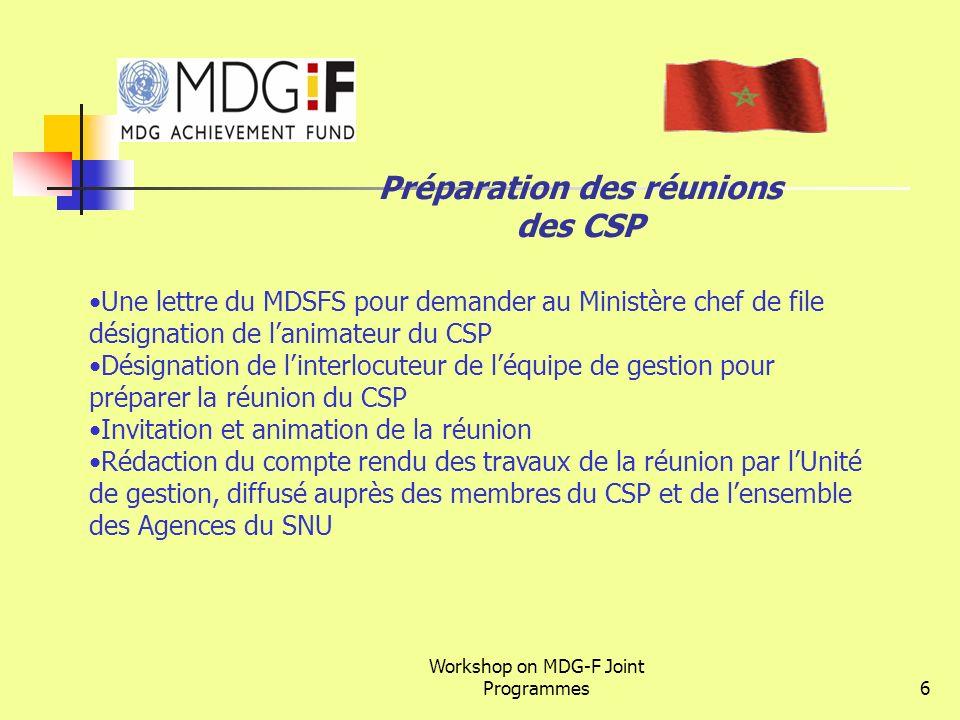 Préparation des réunions des CSP