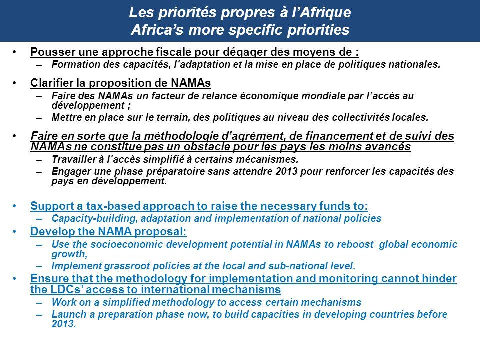 Les priorités propres à l'Afrique Africa's more specific priorities