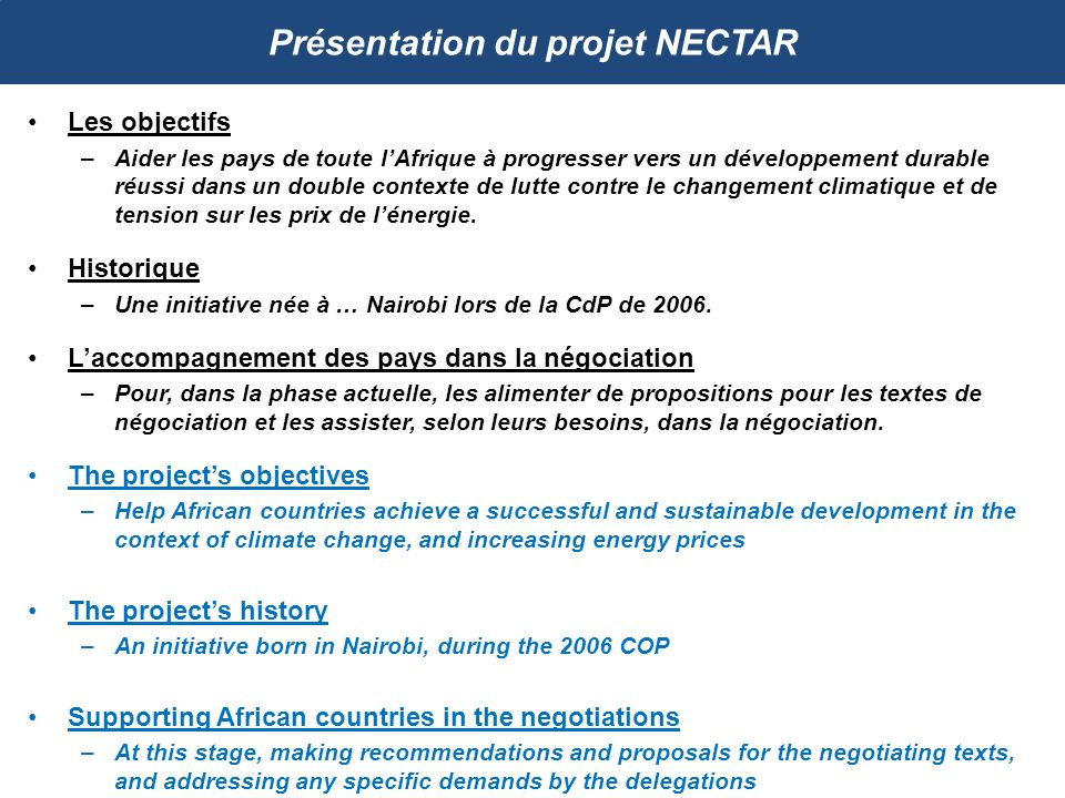 Présentation du projet NECTAR