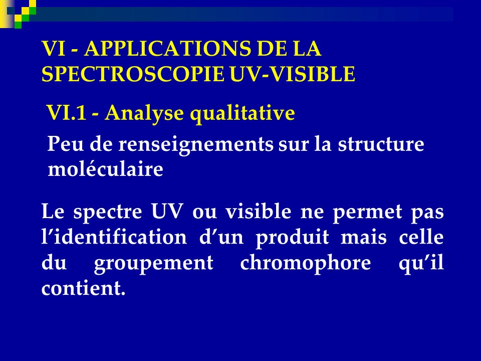 VI - APPLICATIONS DE LA SPECTROSCOPIE UV-VISIBLE