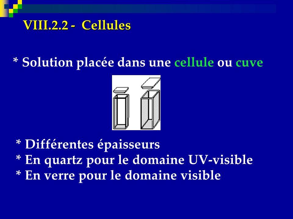 VIII.2.2 - Cellules * Solution placée dans une cellule ou cuve. * Différentes épaisseurs. * En quartz pour le domaine UV-visible.