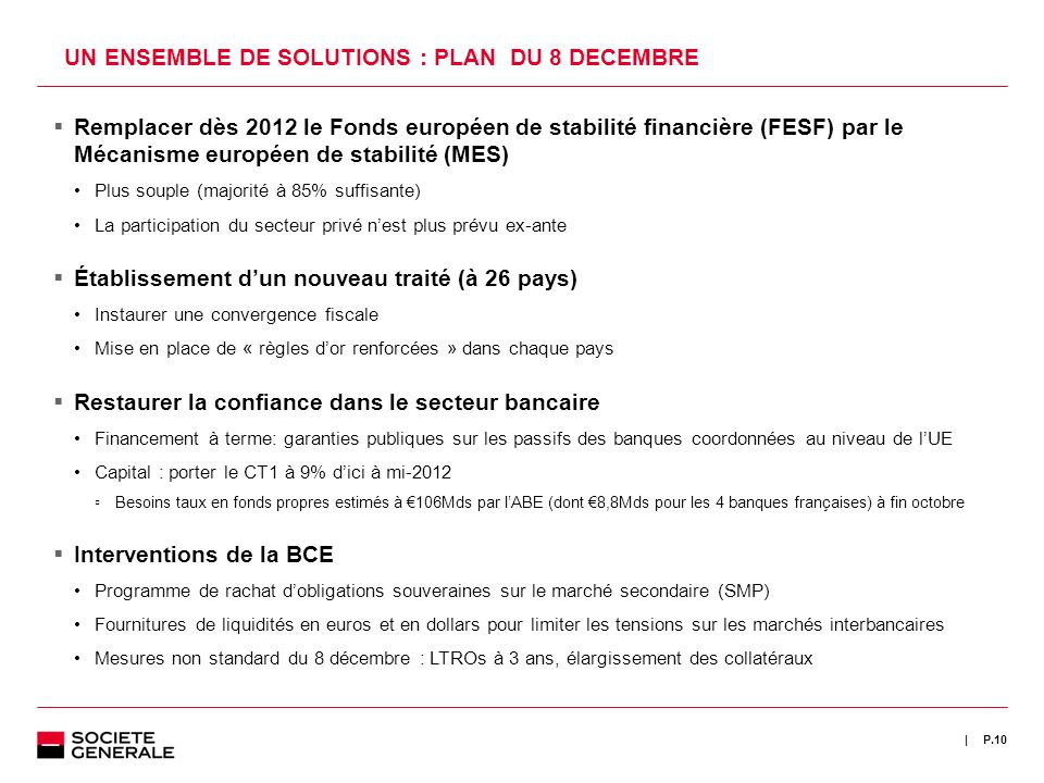 UN ENSEMBLE DE SOLUTIONS : PLAN DU 8 DECEMBRE