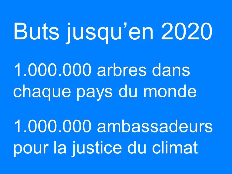Buts jusqu'en 2020 b 1. 000. 000 arbres dans chaque pays du monde b 1