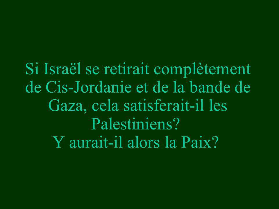 Si Israël se retirait complètement de Cis-Jordanie et de la bande de Gaza, cela satisferait-il les Palestiniens.