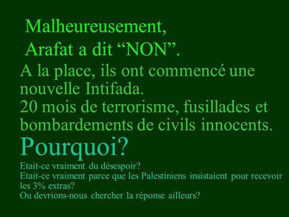 Malheureusement, Arafat a dit NON .