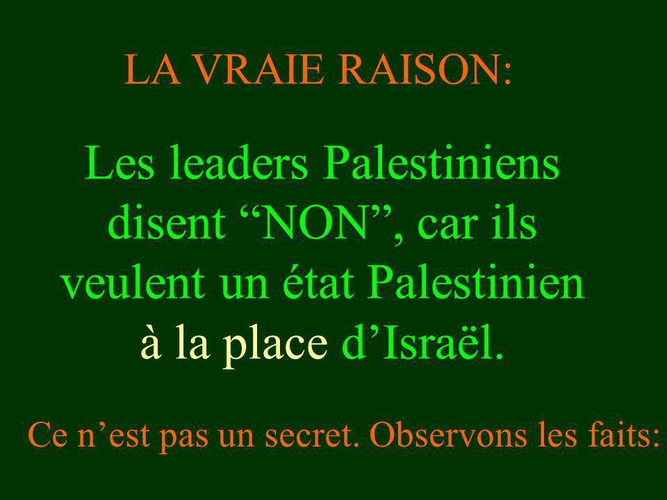 LA VRAIE RAISON: Les leaders Palestiniens disent NON , car ils veulent un état Palestinien à la place d'Israël.