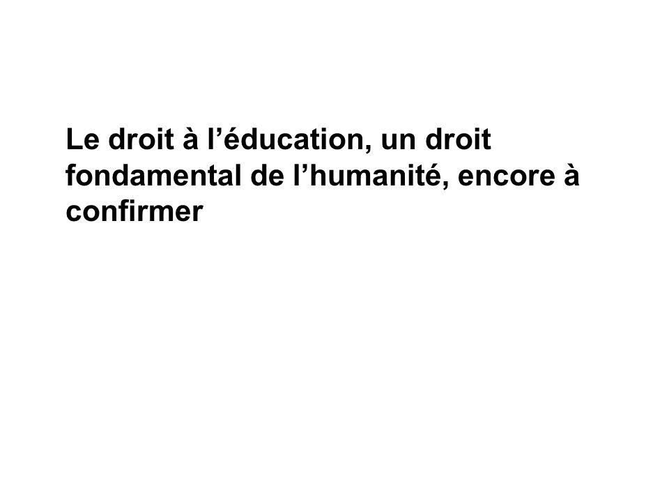 Le droit à l'éducation, un droit fondamental de l'humanité, encore à confirmer