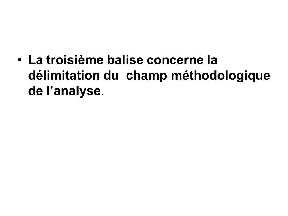 La troisième balise concerne la délimitation du champ méthodologique de l'analyse.