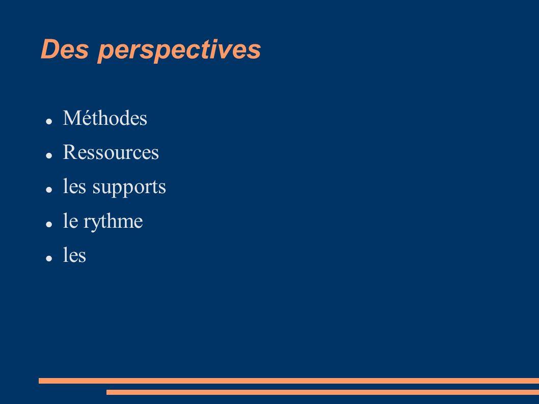 Des perspectives Méthodes Ressources les supports le rythme les