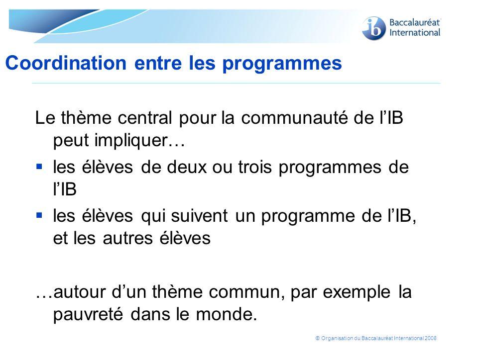 Coordination entre les programmes