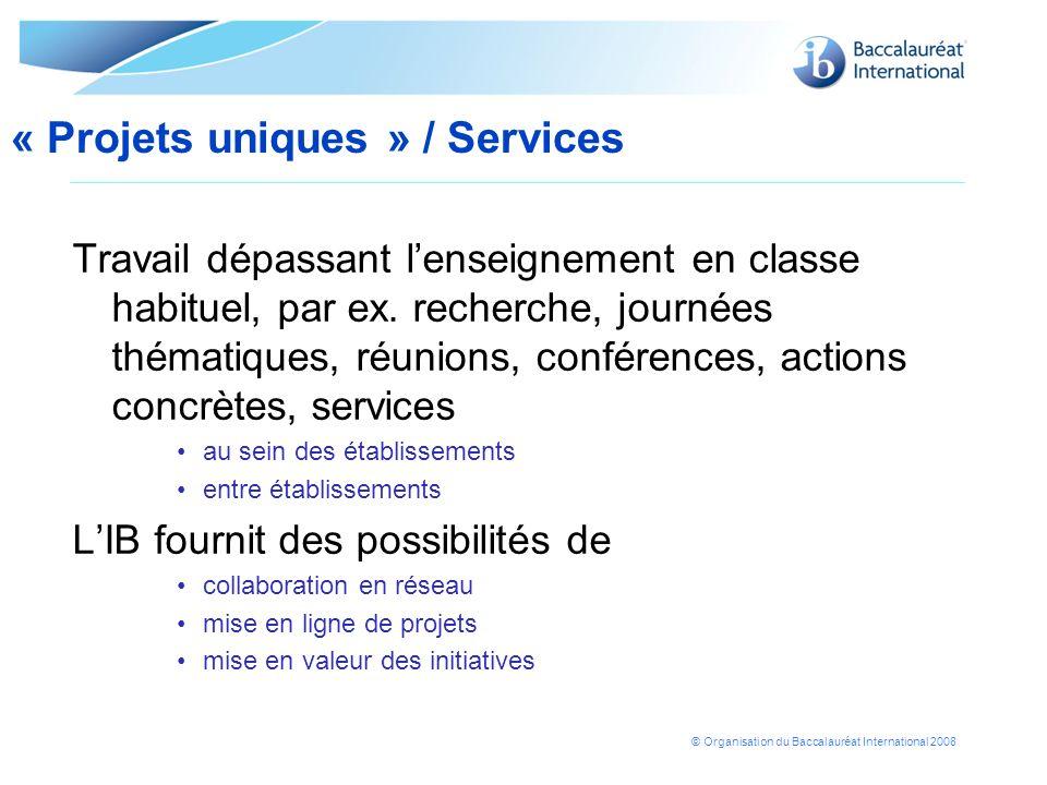 « Projets uniques » / Services
