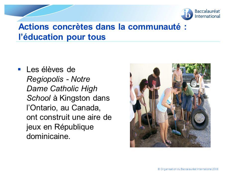 Actions concrètes dans la communauté : l'éducation pour tous