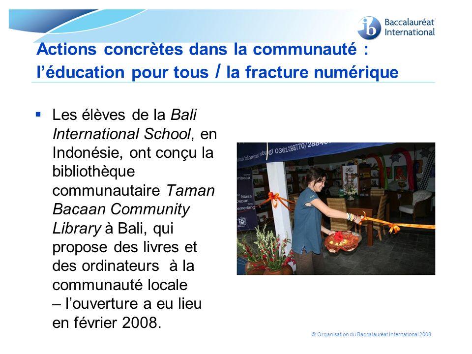 Actions concrètes dans la communauté : l'éducation pour tous / la fracture numérique