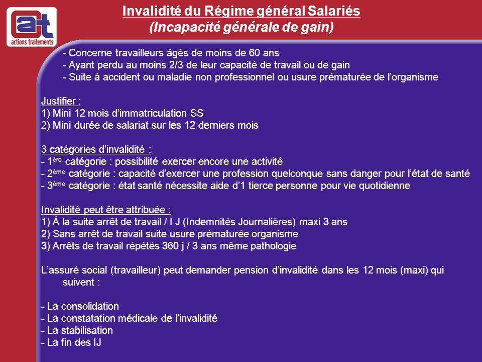 Invalidité du Régime général Salariés (Incapacité générale de gain)