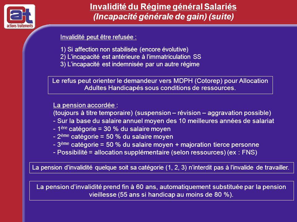 Invalidité du Régime général Salariés (Incapacité générale de gain) (suite)