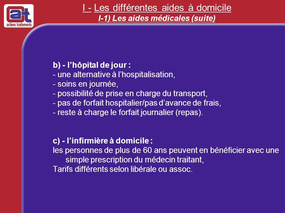 I - Les différentes aides à domicile I-1) Les aides médicales (suite)