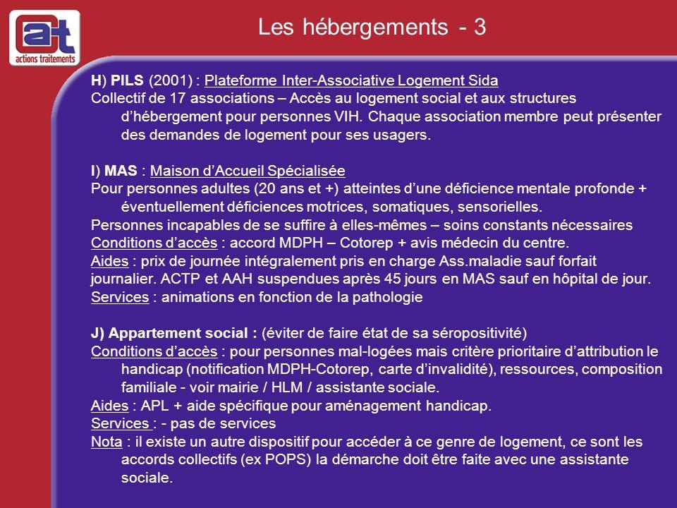 Les hébergements - 3 H) PILS (2001) : Plateforme Inter-Associative Logement Sida.