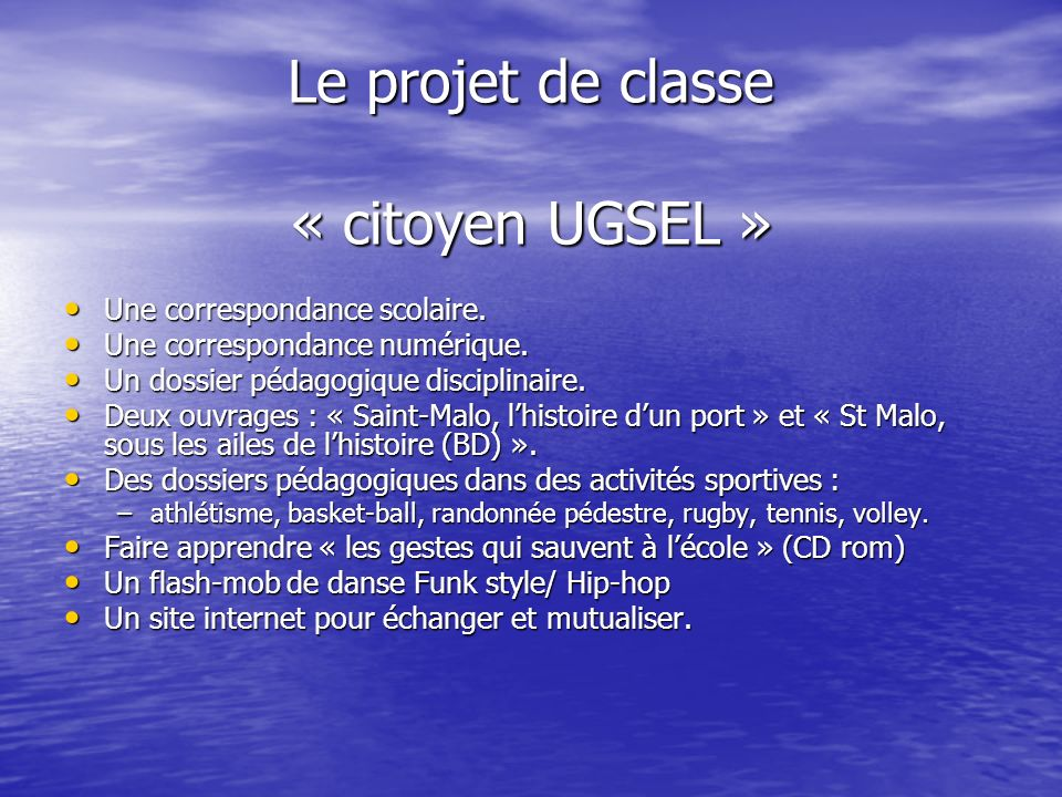 Le projet de classe « citoyen UGSEL »