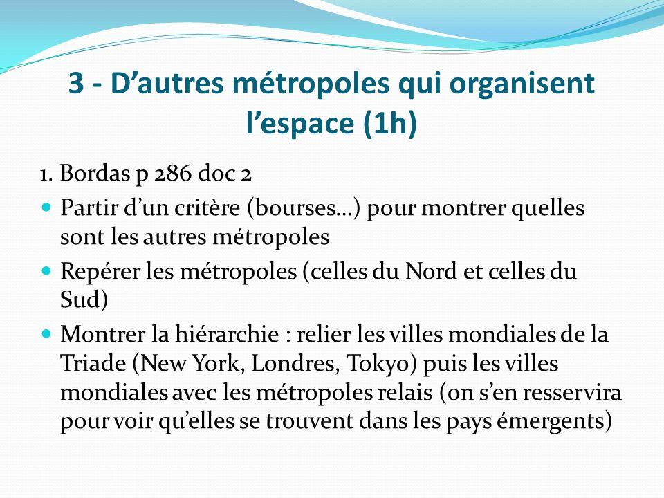 3 - D'autres métropoles qui organisent l'espace (1h)