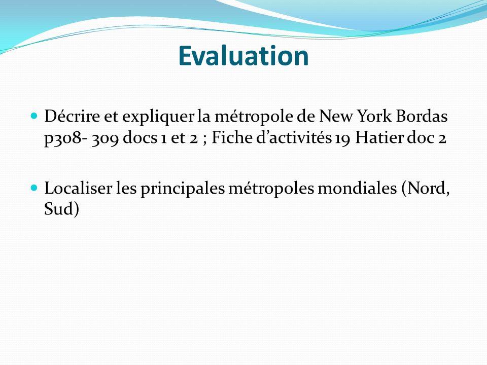 Evaluation Décrire et expliquer la métropole de New York Bordas p308- 309 docs 1 et 2 ; Fiche d'activités 19 Hatier doc 2.