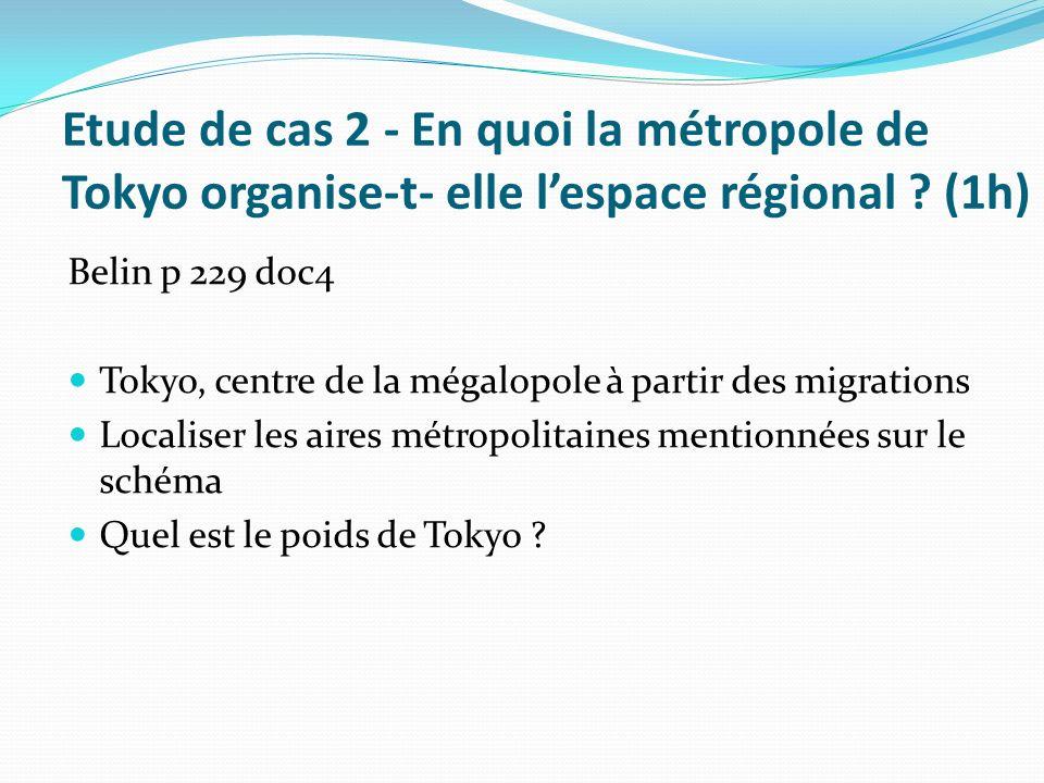 Etude de cas 2 - En quoi la métropole de Tokyo organise-t- elle l'espace régional (1h)