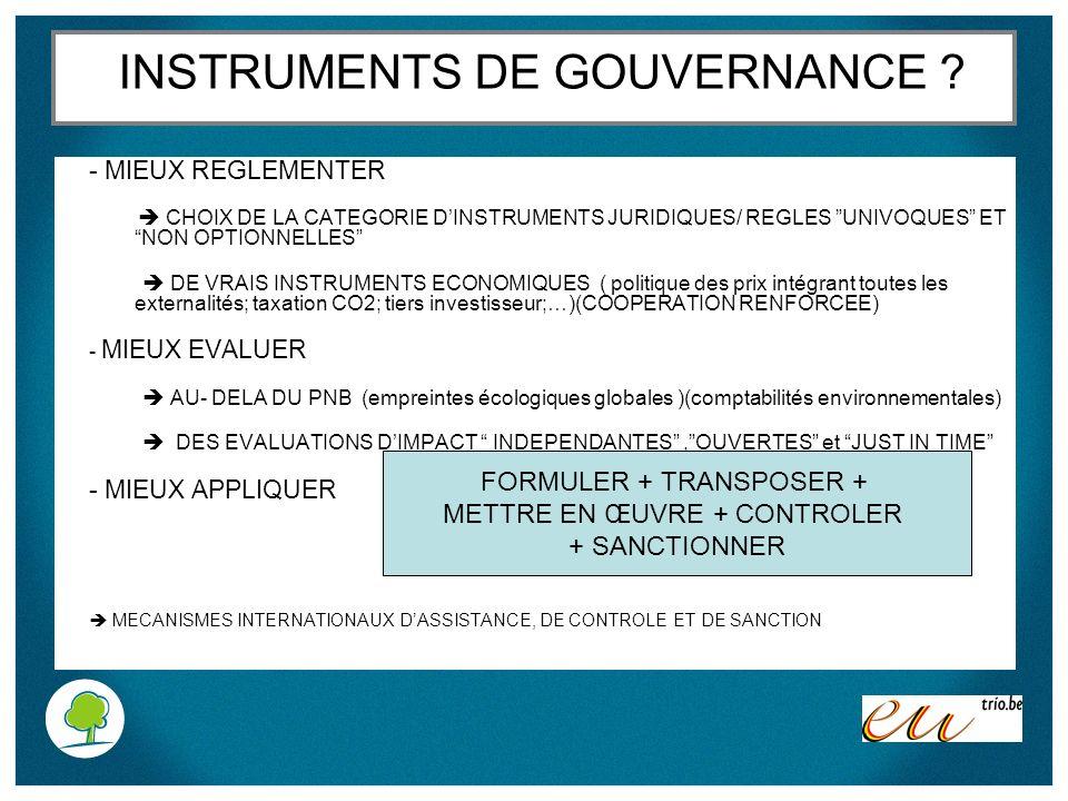 INSTRUMENTS DE GOUVERNANCE