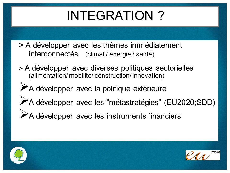 INTEGRATION > A développer avec les thèmes immédiatement interconnectés (climat / énergie / santé)